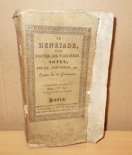 VOLTAIRE LA HENRIADE AVEC TOUTES LES VARIANTES... ILLUSTRE GRAVURES EISEN 1787