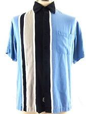 Nat Nast Shirt Luxury Button Blue Black Striped Bowling Silk Mens M