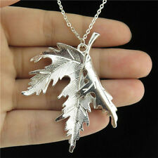 """5-2 18"""" Chain Collar Chunky Necklace Women Bright Silver 54mm Maple Leaf Pendant"""