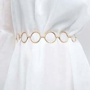 Geometrical O Ring Shape Waist Belt Chic Gold Tone Body Chain Ring Belly Chain