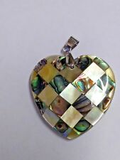NWOT Mother of Pear & Abalone Shell Heart Pendant (#PN-4)