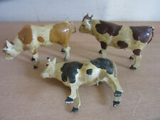 """Lot of 3 Antique German Putz Composition & wood Larger Spotted Cows 5"""""""