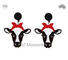 Melbourne Seller! ~ Sweet Boho Cow with Red Head Scarf Stud Earrings ~ E159