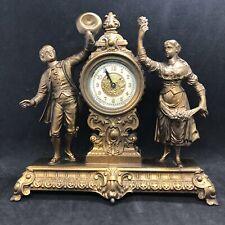 "Antique Ansonia ""Frolic"" Mantle Clock Man & Woman Fancy Dial Circa Late 1800's"
