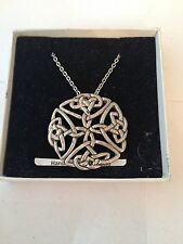 "Silver Platinum Plated Necklace 18"" Large Celtic Open Pp-G39 Emblem on"