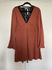 Asos V Neck Burnt Orange Dress Black Lace Back Size 14 BNWT Long Sleeves 60s Mod