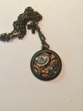 """Steampunk Initial Antique Bronze Pendant - Any Initial w/24"""" necklace"""