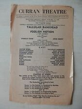 January 1946 - Curran Theatre Playbill - Foolish Notion - Tallulah Bankhead
