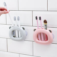 1Pc 3 Holes Wall Mount Toothbrush Holder Suction Cup Hook Brush Teeth Holder Us
