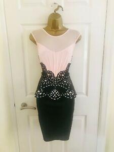LIPSY Black Peach Peplum Evening Party Occasion Races Mini Wiggle NYE Dress £60