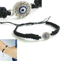 Black String Evil Eye Bracelet Protection Sterling Silver Safe Wet Luck Charm