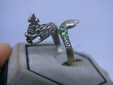 Statue Figurine Fantasy myth power sz 8 Dragon Charm Ring green real silver 925