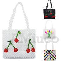 Ladies Beaded Bag Handmade Strawberry Cherry Weave Handbag Crystal Clutch Bag