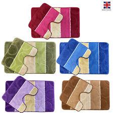 2pc BATH MAT SET Non Slip Bathroom & Pedestal Soft Water Absorbent Toilet Rug UK
