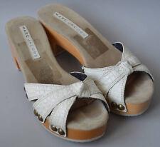 Femmes designer MARC JACOBS Cuir Crème Plateforme Sabots Sandales Taille UK 5