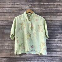 Habitat Women's M/L M L 100% Linen Floral Print Button Up Shirt Top Green A6