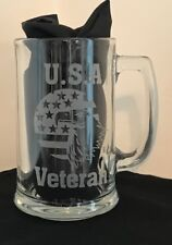 New listing Engraved Beer mug Usa Veteran with Flag and eagle Patriotic Beer Stein