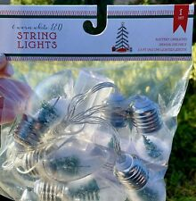 Target Holiday Led Battery Operated String Light Bulbs Set Snow Tree Globes NEW