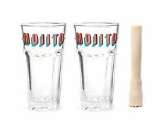Kikkerland Mojito Glasses and Muddler Transparent Set of 3
