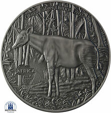 Africa Serie: Kongo 1000 Francs CFA 2015 Antique Finish Okapi Silver Ounce