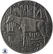 Africa Serie: Kongo 1000 Francs CFA 2015 Antique Finish Okapi Silver Ounce