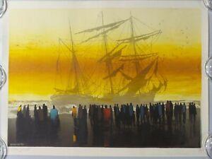 "ORIGINAL ELTON BENNETT SILKSCREEN SERIGRAPH PRINT SEA HOSTAGE ART 18 X 24"""