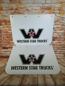 2 x New White Genuine Western Star 24 x 18 Truck Anti Spray Hard Style Mudflaps