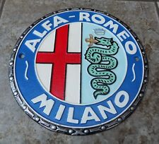 ALFA ROMEO MILANO SUPERB HEAVY CAST IRON 8 COLOUR ADVERTISING SIGN OR PLAQUE