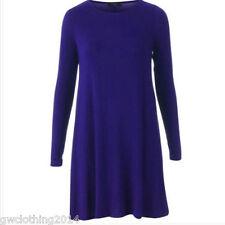 Ladies Women(Long)Sleeve Swing dress skater Party TopDresses Tunic Print t-shirt