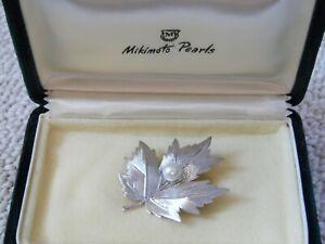Vintage Mikimoto Akoya Pearl Leaf Pin