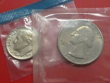 UNITED STATES 25 Cents 1987 - D  & 10 CENTS ROOSEVELT DIME 1972 UNCIRCULATED