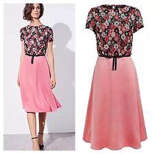 Designer Kaliko Size 18 Pink Black Lace Floral Occasion DRESS Wedding Party £150