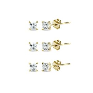 3-Pair Set Yellow Gold Flashed Sterling Silver CZ 6mm Square Stud Earrings