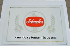 RARE SCHAEFER TIN METAL BEER SIGN IN SPANISH...CUANDO SE TOMA MAS DE UNA