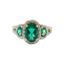 Oval Cut Three Stone Emerald and white topaz engagement Ring Sterling Silver