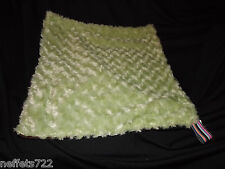 ESSENTIAL BEBE' GREEN BABY ROSEBUDS BROWN DOTS LOVEY SECURITY BLANKET NEW