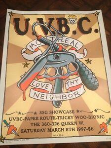 1997 Kozik silkscreen concert POSTER for U.V.B.C Paper Route S/N A/P Montreal