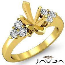 Natural Round Diamond 3Stone Marquise Mount Engagement Ring 14k Yellow Gold 0.3C
