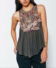 151815 New Ecote Urban Outfitters Embroidered Embellished Fringes Blouse Top S