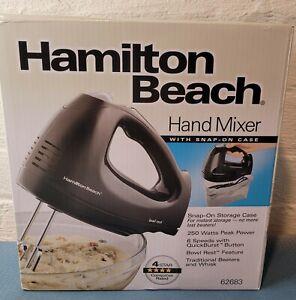 Hamilton Beach 6-Speed Hand Mixer with Snap-On Case Black Model 62683 NEW