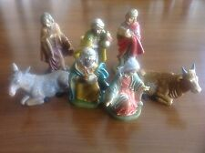 Vintage Christmas LELLO S 7 Nativity Figurines ITALY Hard plastic