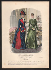Barcelona Mode coloreadas a mano original-litografía para 1870-original