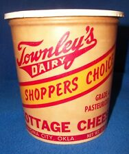 Townsley's Dairy 32 oz Cottage Cheese Wax Papered Container Oklahoma City w/ lid