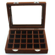 Velvet Glass 24 Lots Jewelry Organizer Ring Display Box Earrings Storage Case