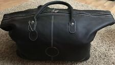 LILO COLLECTIONS Black Leather HAMPTONS Overnight Large Duffle Carryon Bag-NEW