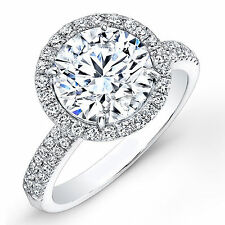 1.07 CT Fine Real Natural Diamond Engagement Ring 14K White Gold Round Size M N