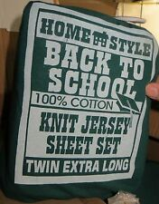 Twin XL Green Sheets & Pillow Case Dorm Size Jersey Knit Shavel 100%  Cotton