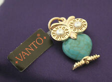 Ciondolo Vanto Gioielli gufetto/civetta in argento 925 rosé con turchese e perle