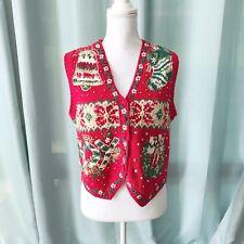Tiara Petites Ugly Christmas Vest Women's Size Medium Red and Green Joy Wreath