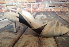 Narciso Rodriguez Open Toe Sling Back Leather Ivory Heels Size 40 Italy